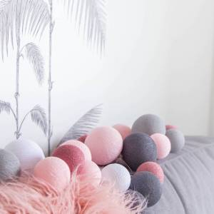 Cotton Ball Lights Premium lichtslinger roze - Perfect Combi