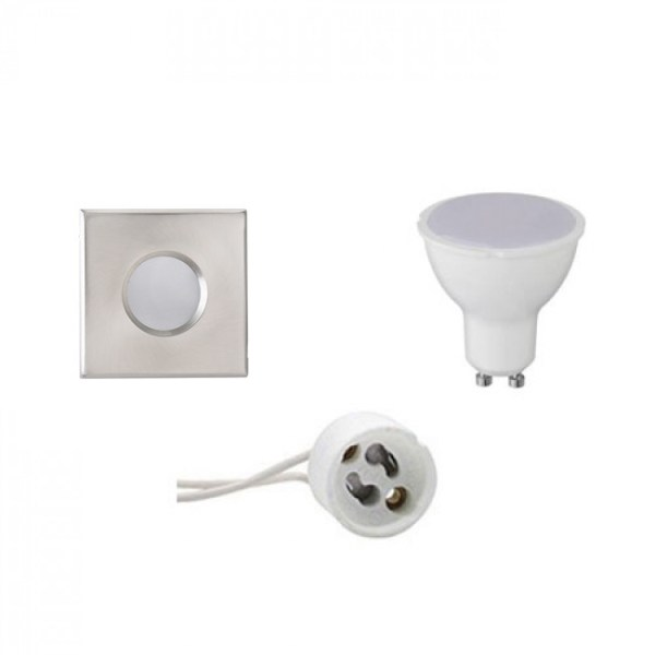 LED Spot Set - GU10 Fitting - Waterdicht IP65 - Inbouw Vierkant - Mat Chroom - 6W - Warm Wit 3000K - 82mm