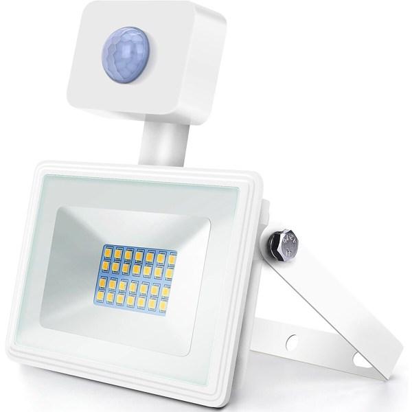 LED Bouwlamp 20 Watt met Sensor - LED Schijnwerper - Aigi Sunny - Natuurlijk Wit 4000K - Waterdicht IP65 - Mat Wit - Aluminium