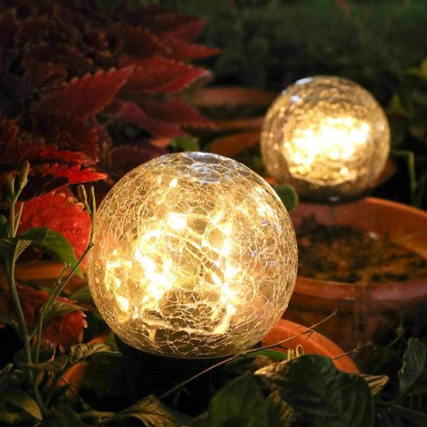 Craquelé Bolvormige LED-zonne-verlichting Gazonverlichting Kerst Buiten Grondlamp Tuindecoraties Verlichting