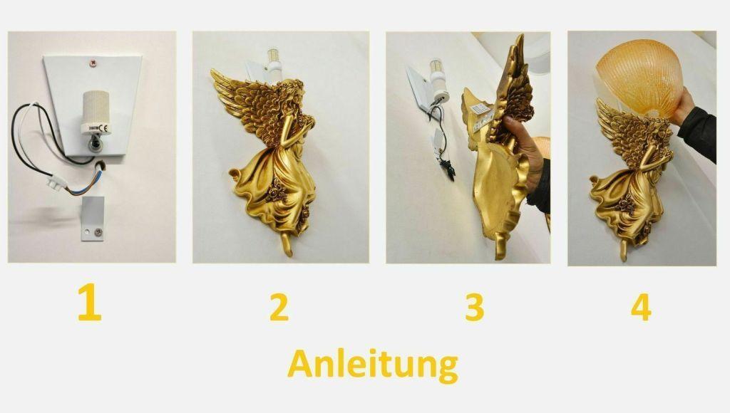 Wandlampe-Bronze Kind Fluegel