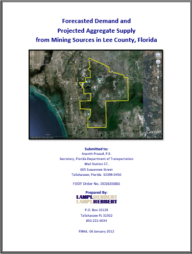 Forecasted Demand and Projected Aggregate Supply from Mining Sources in Lee County, Florida