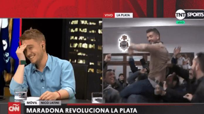 Periodista fue a cubrir la llegada de Maradona y terminó sin pantalón