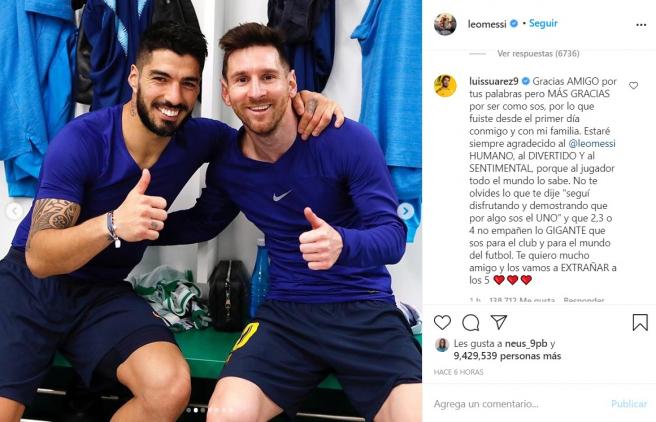 Messi estalla contra el Barça por la marcha de Luis Suárez: