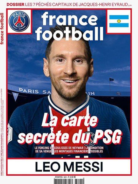 Messi en la tapa France Football con la camiseta del PSG.   Vía Infobae