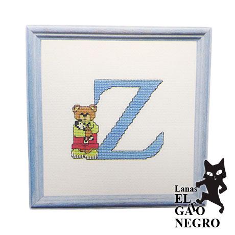 bordado letra Z osito azul