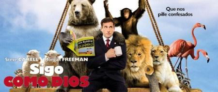 """titulo de la película donde se ve a Steve Carell, el protagonista, sentado en una viga de obra rodeado de animales, uno de ellos, un oso está leyendo un libro que se llama """"Construccion de arcas para dummies"""""""