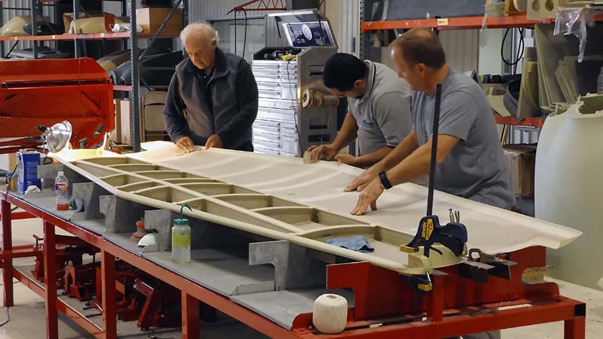 Customer assembling aircraft part at new Lancair Builders Assistance Center