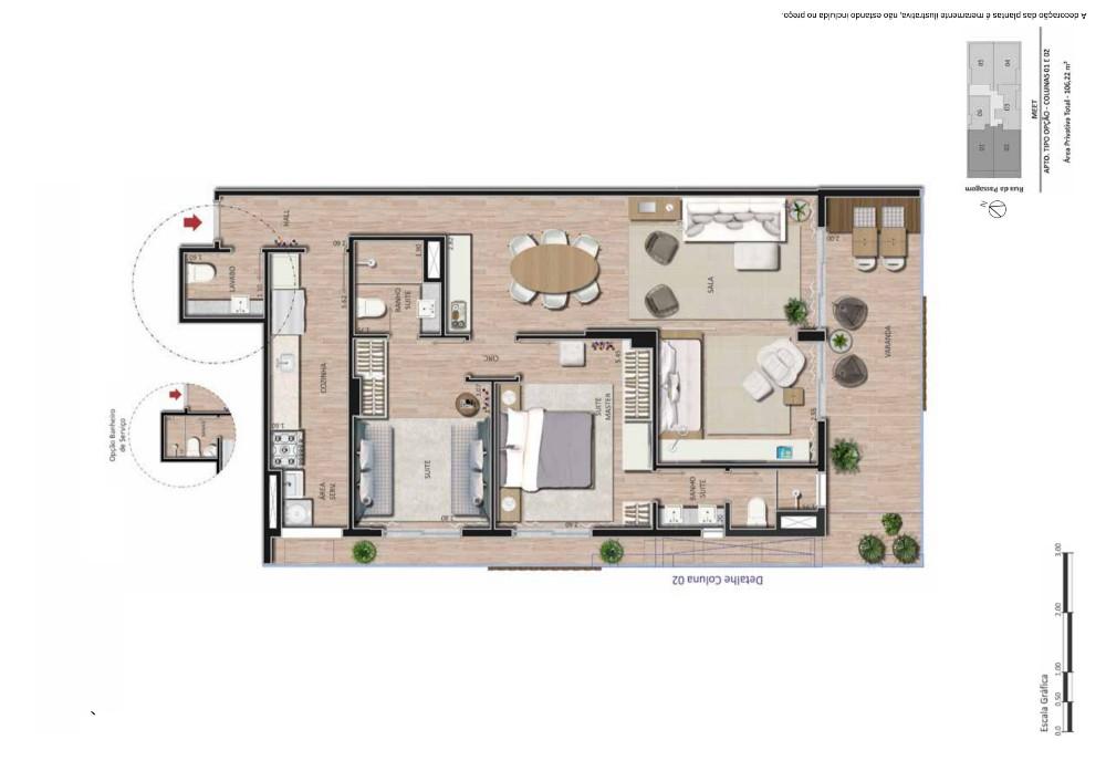 Apartamento 3 suítes  sala ampliada