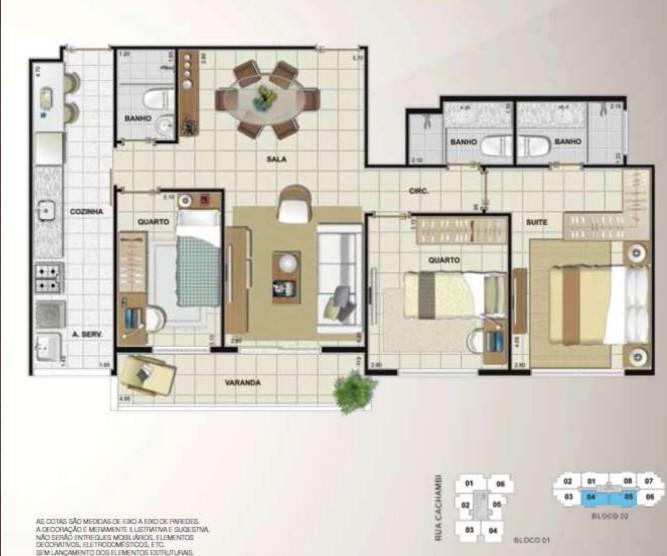 Apartamento 3 quartos 1 suítes