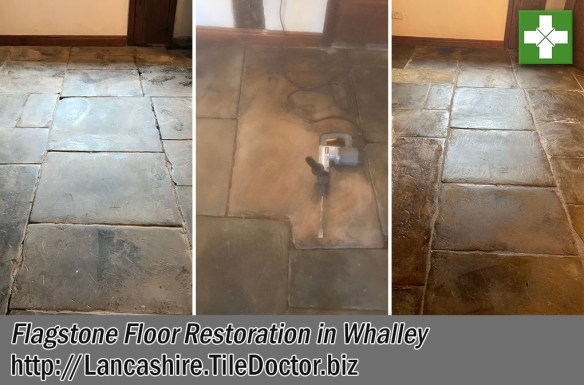 Flagstone Floor Before After Restoration Whalley