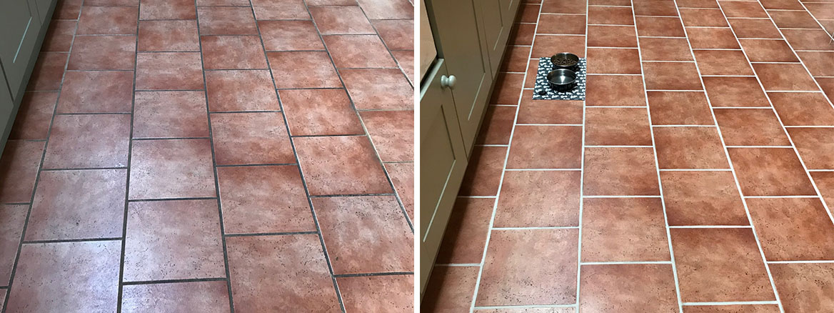 Ceramic Tiled Kitchen Floor Before and After Grout Colouring Ulverston