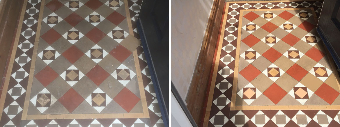 Edwardian Tiled Floor Before and After Cleaning in Lytham