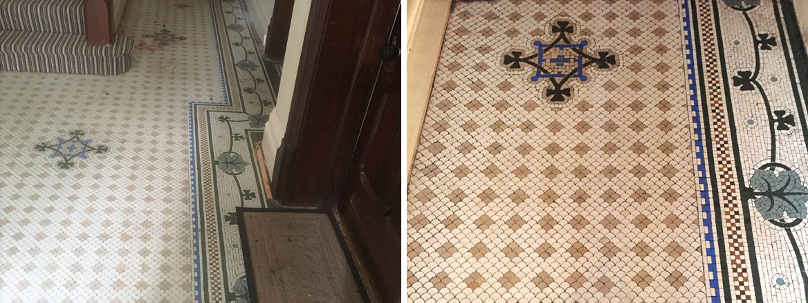 Original Victorian Tiled Floor Before and After Cleaning Lytham St Annes
