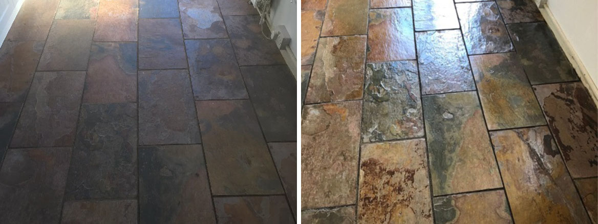 Rough Copper Slate Before and After Cleaning Heysham