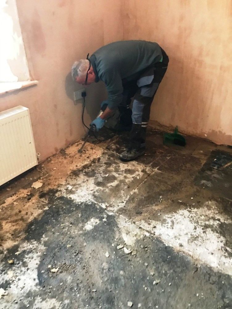 Removing Self-Levelling Compound and Bitumen from Flagstones in Morecambe
