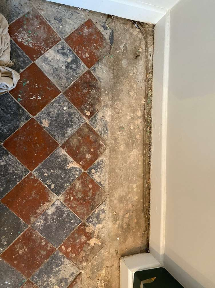 Victorian Black and Red Floor Before Cleaning Lancaster