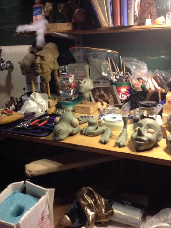 An artist's workbench.