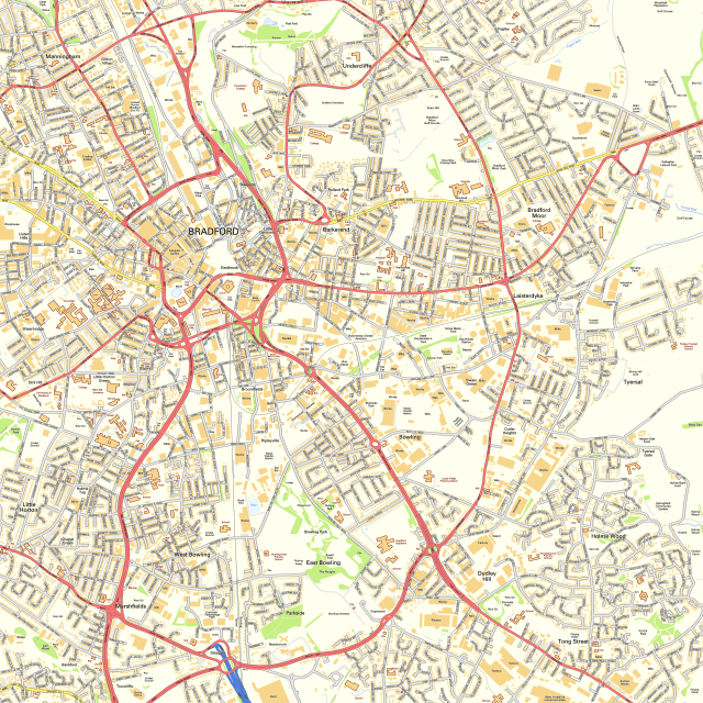 Street map of Bradford. Contains OS data © Crown Copyright [and database right] (2014)