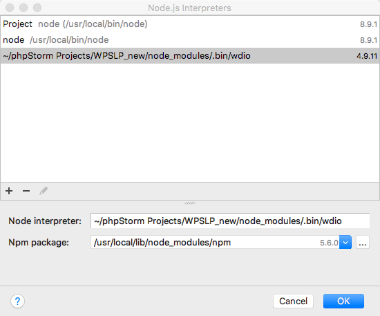 Configuring the WDIO NodeJS interpreter