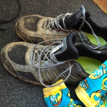 Muddy shoes and socks.