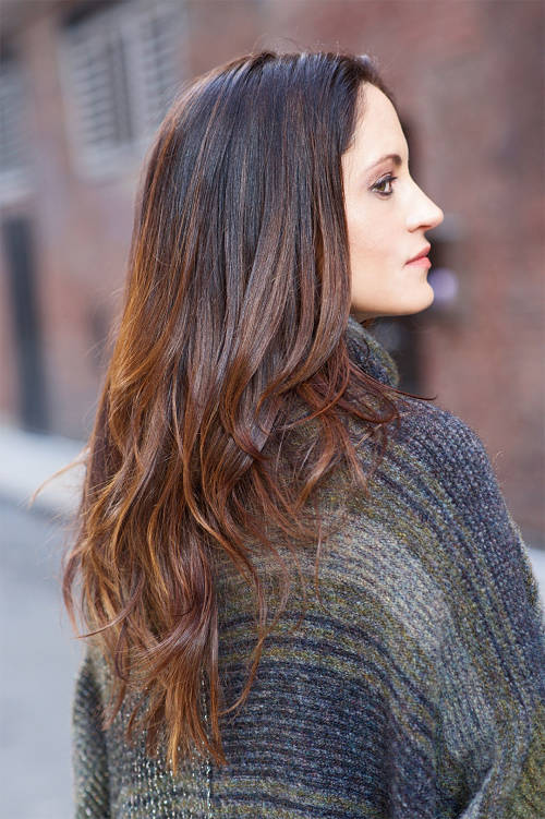 medium brown hair with highlights and long layers