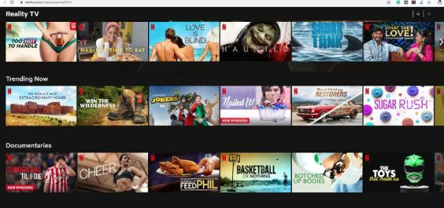 Netflix Categories from the letter R