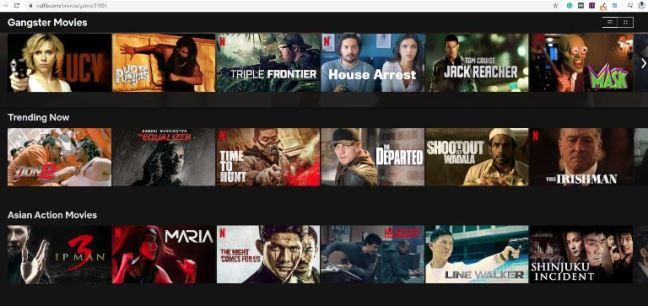 Gangster movies can be found through Netflix secret categories