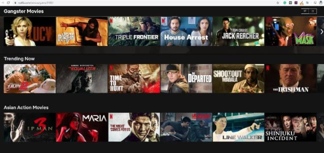 Gangster movies can be found through Netflix secret categories