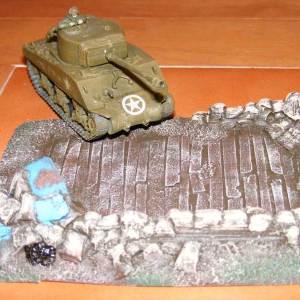 German 88mm gun position, Opel blitz wreck.