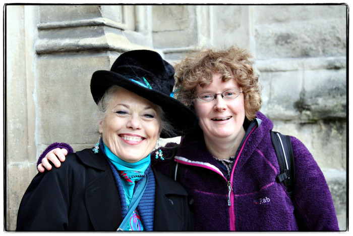 Nan and Honor outside of Westminster Abbey - wb