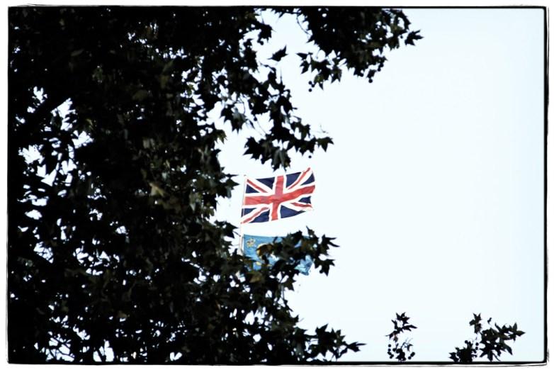 Union-Jack-flying-over-Sanctuary-Rd- Image copyright Lancia E. Smith - www.lanciaesmith.com
