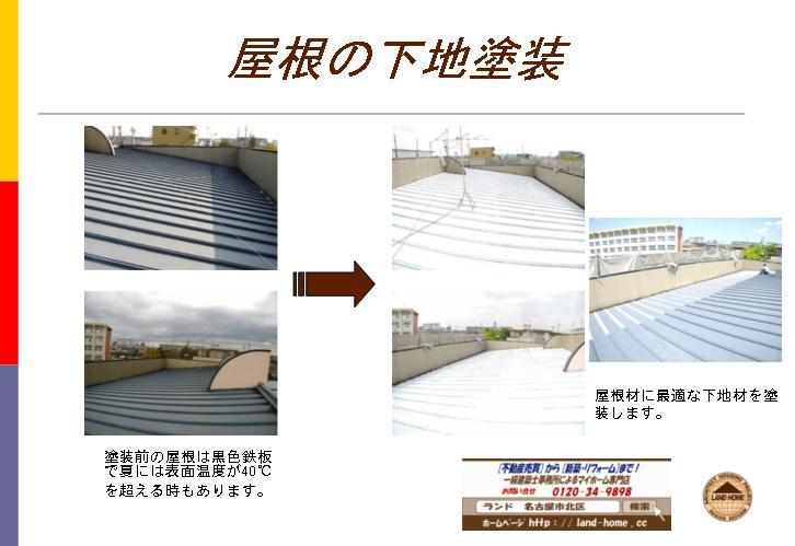 屋根の下地塗装、①塗装前の屋根は黒色鉄板で夏には表面温度が40℃を超える時もあります。②屋根材に最適な下地材を塗装します。