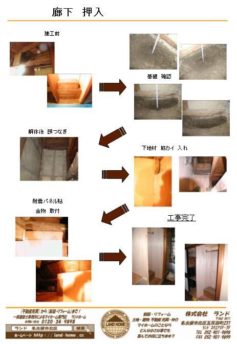 廊下:押入|施工前工事完了耐震パネル貼 金物 取付基礎 確認解体後 頭つなぎ下地材 筋カイ 入れ