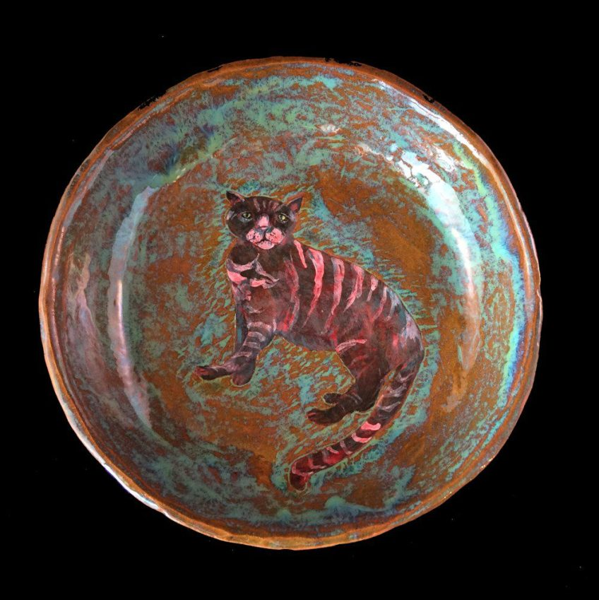 Decorative cat bowl. SOLD.