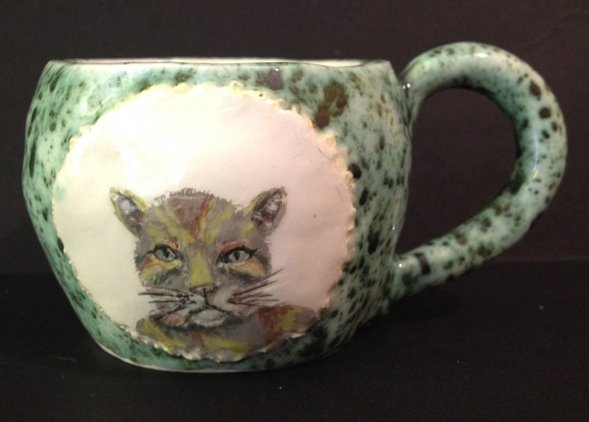 Tabby cat cup.