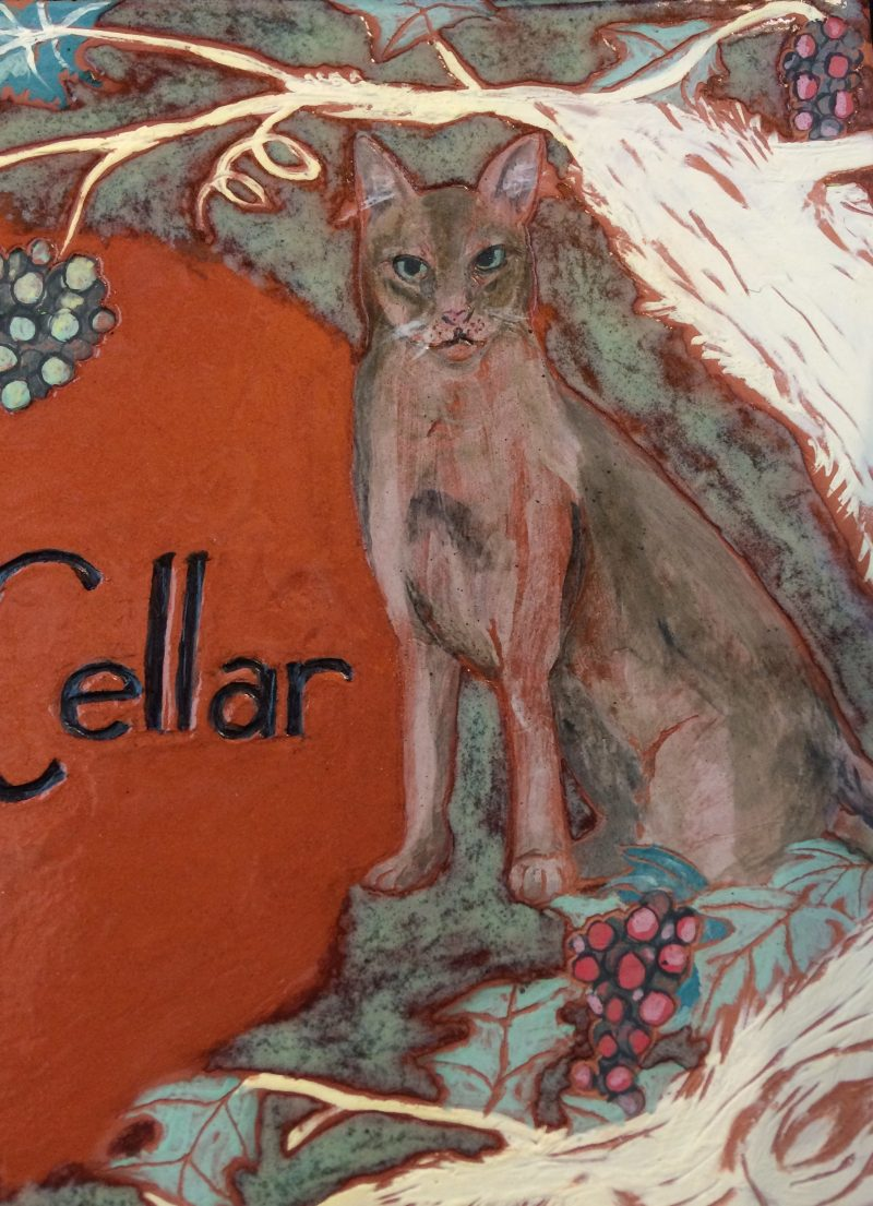 Cat plaque, detail.