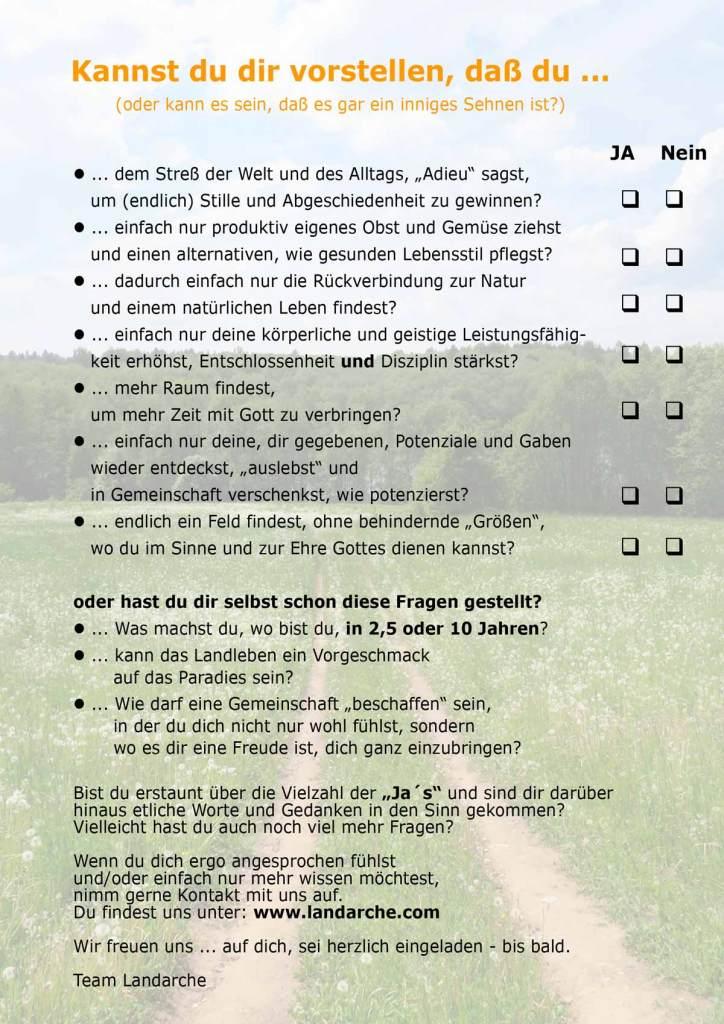 Fragebogen zur Landarche
