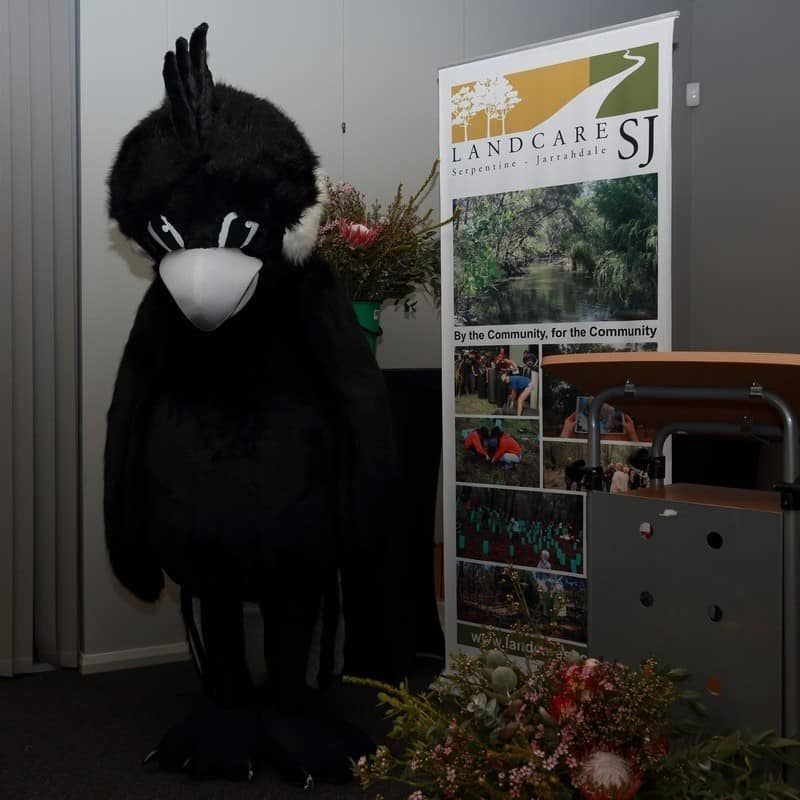 man in carnaby Cockatoo costume infront of Landcare SJ display