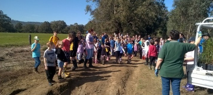 North Dandalup Primary School children standing on Beau Sovereign Drive , North Dandalup waiting to start planting