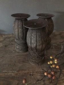 Houten ornament/kandelaar (knop) Aura Peeperkorn