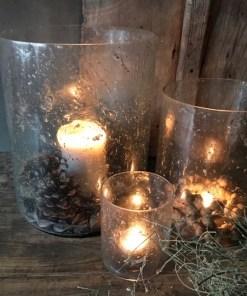 Stoere glazen windlicht met bubbels