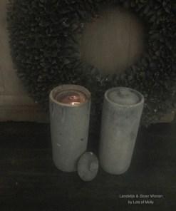 Stenen waxine houder met deksel