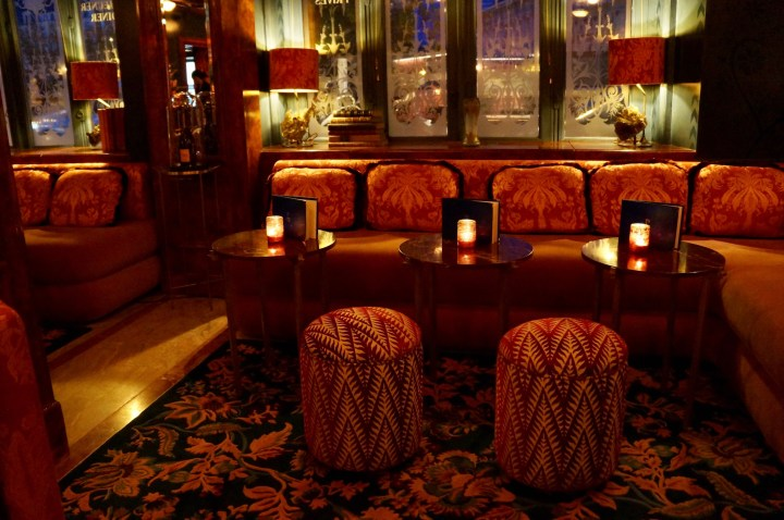 The cozy and intimate bar area at Lapérouse restaurant in Paris
