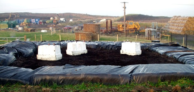 Landfill gas emissions trial bays used for research into bio-oxidation of landfill gas.