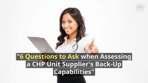 Image shows an intro graphic to 6 questions to ask a CHP unit maintenance contractor.