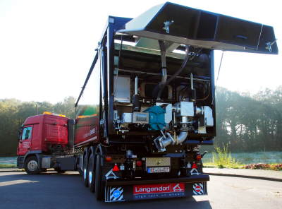 Huesker's new FL1036 FCC+ Tipper Trailer with Borger pump with FL1036