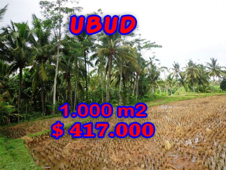 Stunning Property for sale in Bali, land for sale in Ubud Bali  – 1.000 sqm @ $ 417