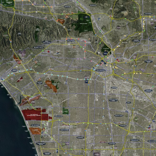 Los Angeles   Rolled Aerial Map   Landiscor Real Estate Mapping 2017 Los Angeles Rolled Aerial Map     Classic Print Scale