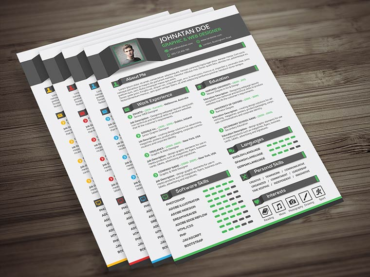 cv cover letter psd template landisher